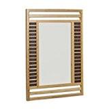 Relaxdays Miroir en bambou glace de salle de bain fixation murale en bois HxlxP: 70 x 50 x 2 cm ...