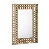 Relaxdays Miroir en bois de noyer miroir de salle de bain cadre décoratif optique grille couloir miroir mural bois naturel ...