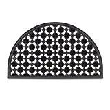 Relaxdays Paillasson 75x45 cm tapis de sol antidérapant caoutchouc grille demi-rond résistant pluie neige balcon terrasse jardin deli-lune, noir