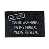 """Relaxdays Paillasson en fibres de coco inscription en allemand """"Attention Mon logement ma musique mes règles"""" tapis entrée essui-pieds Lxl: ..."""
