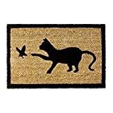 Relaxdays Paillasson en fibres de coco Tapis de sol porte d'entrée accueil motifs chat et oiseau 40 x 60 cm ...