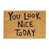 Relaxdays Paillasson en fibres de coco tapis de sol porte entrée You look nice today dessous caoutchouc antidérapant PVC L ...