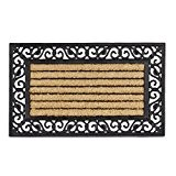 Relaxdays Paillasson en fibres de coco tapis de sol rectangle rayé motif fleur dessous antidérapant optique fonte L x l ...