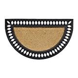 Relaxdays Paillasson fibres de coco tapis de sol demi-rond 75x45 cm demi-lune caoutchouc antidérapant effet fonte, nature et noir