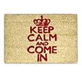 "Relaxdays Paillasson ""Keep calm and come in"" en fibre de coco 40 x 60 cm avec dessous antidérapant PVC caoutchouc ..."
