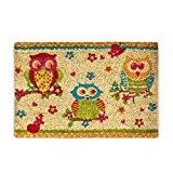 Relaxdays Paillasson Tapis d'entrée en fibre de coco avec motif 3 hiboux chouettes 60 x 40 cm dessous antidérapant PVC ...