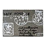 Relaxdays Paillasson Tapis d'entrée en fibre de coco motif carte postale lettre 40 x 60 cm tapis de plancher tapis ...