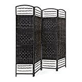 Relaxdays Paravent 4 panneaux bambou pliable protège de la lumière séparateur pièce pliant cloison mur HLP 179 x 180 x ...