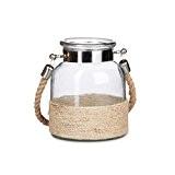 Relaxdays Photophore cordes et verre lanterne LUMI 3 litres bougeoire avec cordes et anse verre maritime, nature