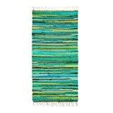 Relaxdays Tapis à franges tissé main coloré vert style indien 70 x 140 cm couloir entrée sol plancher en polyester ...