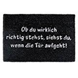 Relaxdays Tapis d'accueil Paillasson d'entrée fibre de coco Texte en allemand tapis de plancher sol porte entrée dessous antidérapant PVC ...