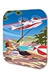 Rétro Horloge murale Décoration Avion des femmes de maillot de bain plage cônes de pin Imprimee Plexiglas