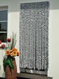 Rideau de porte en chenille en peluche 100x 230cm Blanc/argenté