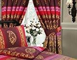 Rideau motif Kashmir fuchsia 167x 183m et embrasses assorties - imprimé ethnique indien floral à pois Rouille/bordeaux/rouge/rose/violet/lilas/doré