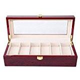 Rightvp Présentoir coffret boîte à bijoux pour 6 montres Bois Massif Coffret Organizer avec Verre Display Top par Elegance, Brun