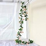 rose garland artificielle des feuilles vertes 63 cm a augmenté de vigne avec boîte de 3 guirlande de fleurs pour ...