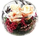 Rosen-te-amo Roses séchées–Arrangement floral composé de 3 fleurs séchées, ici 3 véritables roses stabilisées haut de gamme –Notre arrangement floral ...