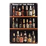 ROSENICE Plaque en Metal Décoration Murale Affiche Vintage Rétro Poster - Bières du Monde
