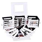 Rowling Boîte à Bijoux en Bois Grand Coffret/Mallette à Bijoux Blanc Armoire à Bijoux Boîte à Maquillage et Cosmétique MG018