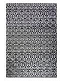 Rugs2Clear Fait main Noir & blanc La laine Jamavar Couverture(230cm X 160cm), 1 Pièce