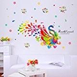Saingace Beau Paon Coloré Décoration Murale Amovible Environnement Stickers Muraux Décalque
