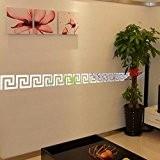 Saingace Plastique Acrylique Maison Moderne DIY Hall d'Autocollant Miroir Chambre Décoration 10pcs (Argent)