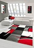 Salon Designer Tapis contemporain Tapis, moquette à motif diamant contour de coupe Rouge Gris Blanc Noir Größe 60x110 cm