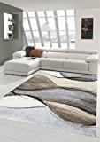 Salon Designer Tapis contemporain Tapis moquette conception baroque Heather Brown Gris Taupe Größe 160x230 cm