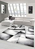 Salon Designer Tapis contemporain Tapis poil ras contour de tapis diamants motif gris noir et blanc Größe 80x150 cm