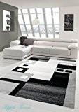 Salon Designer Tapis contemporain Tapis tapis à poils avec des diamants contour de coupe motif Gris Blanc Noir Größe 120x170 ...