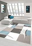 Salon Designer Tapis contemporain Tapis tapis à poils avec des diamants contour de coupe modèle avec des couleurs pastel Bleu ...