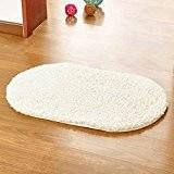 San Bodhi® Tapis de sol antidérapant et absorbant pour salle de bain, chambre à coucher - Ovale, blanc, 40*60cm