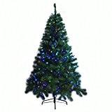 Sapin de Noël/Arbre Lumineux Artificiel pour Noël-150CM-367 Branches-avec Décorations de 180 LEDs Multicolores et d'Une Etoile, Pied et Alimentation Inclus