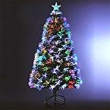 Sapin de Noël artificiel lumineux avec fibre optique + 170 LED MULTICOLORE + 8 Jeux de lumière - livré avec ...
