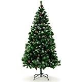 Sapin de Noël avec décoration pommes de pins et neige artificielle - 180cm