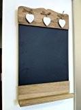 Sass & Belle Tableau noir en bois avec tablette Motifs coeurs blancs