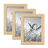 Set de 3 cadres photo 13x18 cm pin naturel moderne bois massif avec vitre et accessoires / cadre photo / ...