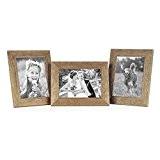 Set de 3 cadres photo 15x20 cm maison de plage rustique aspect chêne naturel bois massif avec vitre et accessoires ...
