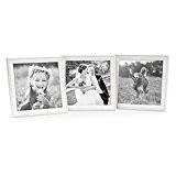 Set de 3 cadres photo chalet 15x15 cm blanc bois massif avec vitre à accrocher ou à poser