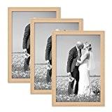 Set de 3 cadres photo chalet 21x30 cm DIN A4 bois naturel bois massif avec vitre et accessoires / à ...