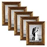 Set de 5 cadres photo 10x15 cm doré baroque antique bois massif avec vitre et accessoires / cadre photo / ...