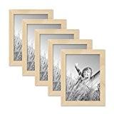 Set de 5 cadres photo 15x20 cm pin naturel moderne bois massif avec vitre et accessoires / cadre photo