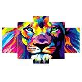 Set de 5pcs Peinture sur Toile Tableau Mural Art Décoration pour Maison - Lion coloré, L