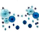 Set de Eventail Décoration Bleue Boules Alvéolée Deco en Papier avec la Chaîne d'Etoiles pour Mariage Party Anniversaire Baby shower ...