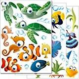 """Set de stickers muraux Wandkings """"Le monde sous-marin de l'océan"""" Kit d'autocollants - plus de 45 motifs autocollants sur 3 ..."""