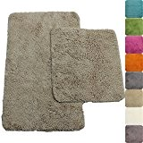 Set x2 tapis de salle de bain Lasalle anti-glissant en beige: tapis de bain 50 x 80 cm - tapis ...