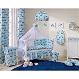 Sevira Kids - Lot de 2 Rideaux en 100% coton pour chambre d'enfant - Hiboux Bleu