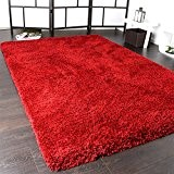 Shaggy Tapis Longues Mèches Super Soft Rio XXL Shaggy Tapis Unicolore En Rouge, Dimension:50x90 cm