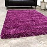Shaggy Tapis Longues Mèches Super Soft Rio XXL Shaggy Tapis Unicolore Violet , Dimension:10x10 cm