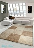 Shaggy tapis Shaggy pile longue tapis tapis de salon Patterned dans Karo Design Marron Taupe Beige Größe 200 x 290 ...